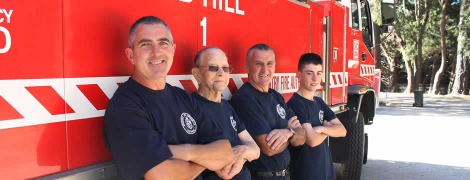Red Hill CFA Members, Anthony, Roy, Darrel & Lachlan Setter